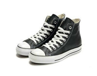 Converse Black Leather Chuck Taylor Sneakers Trainer ALL STAR HI 1Q547 *