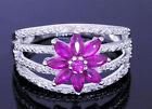 R215- Genuine 9K 9ct White Gold NATURAL Ruby & Diamond Blossom Ring size P