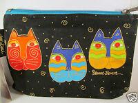 Laurel Burch Cats Felines Faces Cats Canvas Black Cosmetic Zipper Case New