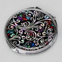 Mother of Pearl Art Deco Makeup Cosmetic Compact Handbag Beauty Hand Mini Mirror