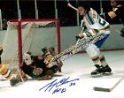 HOFer & 2X CUP WINNER Gerry CHEEVERS DIVE Save Boston BRUINS Signed 8X10 COOL !!