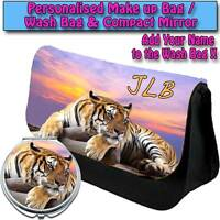 PERSONALISED WOMENS TIGER SUNSET MAKE UP BAG COMPACT MIRROR LADIES GIFT 023