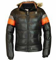 Crosshatch Mens Bubble Puffer Jacket Padded Lined Winter Fur Hooded Bomber Coat