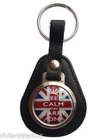KEEP CALM AND CARRY ON UNION JACK BONDED LEATHER KEYRING