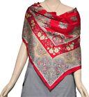 "China silk Red Floral Women's 100% silk twill scarf Shawl Scarves Wraps 34""×34"""