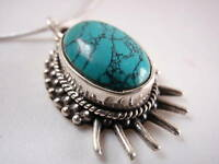 New Turquoise 925 Sterling Silver Necklace India