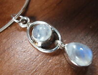 Small Rainbow Moonstone 925 Silver Silver Necklace New