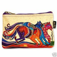 Laurel Burch Dancing Horses Beige Red Blue Purple Canvas Cosmetic Zipper Bag NWT