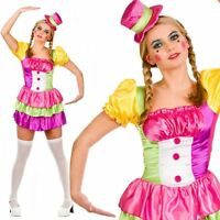 Adult Cute Clown Outfit Fancy Dress Costume Circus Carnival Ladies Womens Female