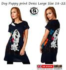 LADIES ANIMAL LOVER DOG PUPPY PRINT FLEECE JUMPER DRESS PLUS SIZE 8-16 TUNIC TOP