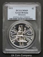 2011 £2 TWO POUND 1oz BRITANNIA COIN GRADED - PCGS-MS69