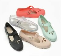 Ladies Girls Beach Summer Retro Jelly Buckle Geek T Bar Women Sandals Shoes Size