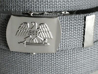 """Canvas GRAY Military WEB Style Belt Silver Metal USA EAGLE Buckle 45"""" x 1 1/4"""""""