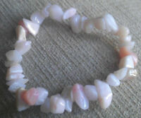 PINK OPAL HEALING CRYSTAL CHIP BEAD BRACELET - love and relationships