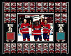 BELIVEAU-RICHARD-LAFLEUR MONTREAL STANLEY CUP BANNER 8x10 FORUM RED-BLUE SEAT