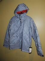 Burton Tinder Hooded Jacket Mens NWT Blue/White Gingham pattern Dryride Thermex