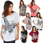 Womens Batwing Top Short Sleeve Sequin Oversized Baggy Butterfly Print