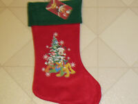 Christmas Stocking Disney Mickey Mouse Goofy Pluto Red Felt