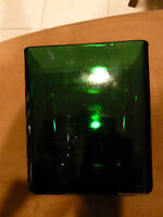 Vintage Napco Forest Green Rectangular Glass Vase - matches AH 'Charm' set