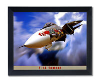 F-14 Tomcat Jet Airplane Wall Picture Black Framed Art Print