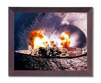 USS Missouri Battleship Firing Guns Military Cherry Framed Art Print