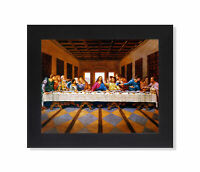 Jesus Christ The Last Supper Religious Wall Picture Black Framed