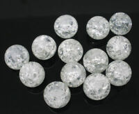 100 x White Crackle Glass Beads - 8mm - L05638 - BUY 2 GET 1 FREE