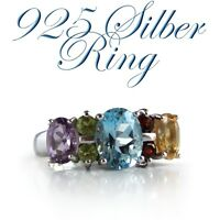 RING 925 Multicolor NEU Silber, 16mm Edelsteine Damenring funkelnd Cocktailring