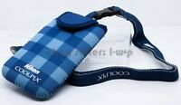 Nikon blue Protection Bag Coolpix S6300 S4300 S3300 S30 Padded Neck Strap NEW