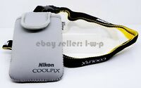 Nikon Gray Protection Bag Coolpix S6300 S6200 S4100 S6100 Padded Neck Strap NEW