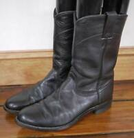 Vintage JUSTIN Black Leather Campus Western Pull On Cowboy BOOTS USA 8D 41 Mens