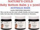 3 x 50ml NATURE'S CHILD Bottom Balm 100% CERTIFIED ORGANIC Baby Nappy Rash Cream