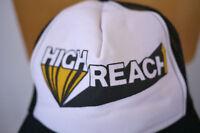 Vintage HIGH REACH Black White MESH Hipster TRUCKER HAT Baseball Cap Adjustable