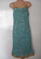 PIED A TERRE BLUE FLORAL PRINT STRAPPY SUMMER DRESS SILK TRIM SIZE 12