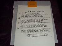 BEATLES HAND WRITTEN LYRICS TO JOHN LENNON'S IN MY LIFE