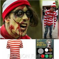 Adult ZOMBIE Where's Wally Fancy Dress Halloween Costume TSHIRT HAT GLASSES S-XL