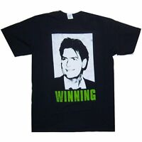"CHARLIE SHEEN ""WINNING"" HEAD PICTURE IMAGE BLACK T-SHIRT SMALL NEW"