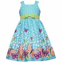 NWT Rare Editions Too Girls Turquoise Butterfly Dot Party Dress sz 4 Blue Green