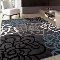"Contemporary Office Area Rug w Floral Design Modern Flowers Carpet 5' 3"" x 7' 3"""