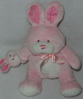 Walmart Plush Pink White Bunny Rabbit w/ Baby Wrist Rattle Gingham Crinkle Ears