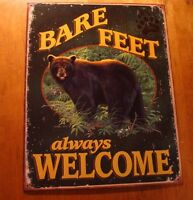 BARE FEET WELCOME Black Bear Forest Paw Lodge Log Cabin Home Decor Sign NEW