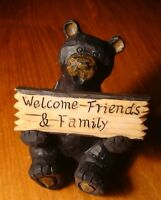 HOME SWEET HOME / WELCOME FRIENDS & FAMILY Black Bear Lodge Sign Cabin Decor NEW