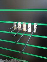 "10 x 8"" Single Slatwall Hooks 203mm Long Chrome Prong Pin Arm Slatwall Panel NEW"