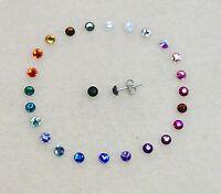 Hypoallergenic Crystal Stud Earrings, using Swarovski Elements, 4mm, 24 colours