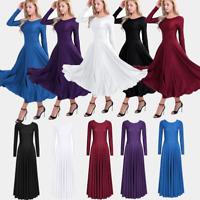 Sexy Adult Women Latin Dance Long Dress party Modern Ballroom Vogue Ballet Tango