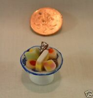 DOLLS HOUSE FOOD - MINIATURE ASSORTED CAKES ON CHINA DISH