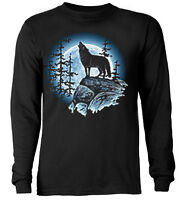 Lone Wolf Howling at the Moon  * Long Sleeve T-shirt *