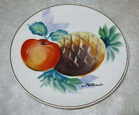 """Hand Painted Porcelain Ceramic 6"""" Plate Fruit Pineapple Signed Hitomi Japan"""