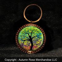 "Large Rainbow Tree of Life Button Keychain Key Chain ""Handmade"""