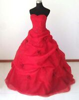 RED/BLACK WEDDING DRESS BRIDAL/EVENING/PROM/PARTY BALL GOWN